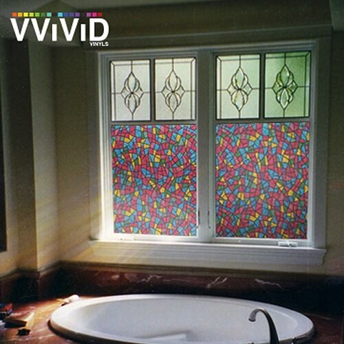 36 x 25ft vvivid stained glass frosted privacy vinyl window film diy home decor ebay - Designs in glasses for house decoration ...