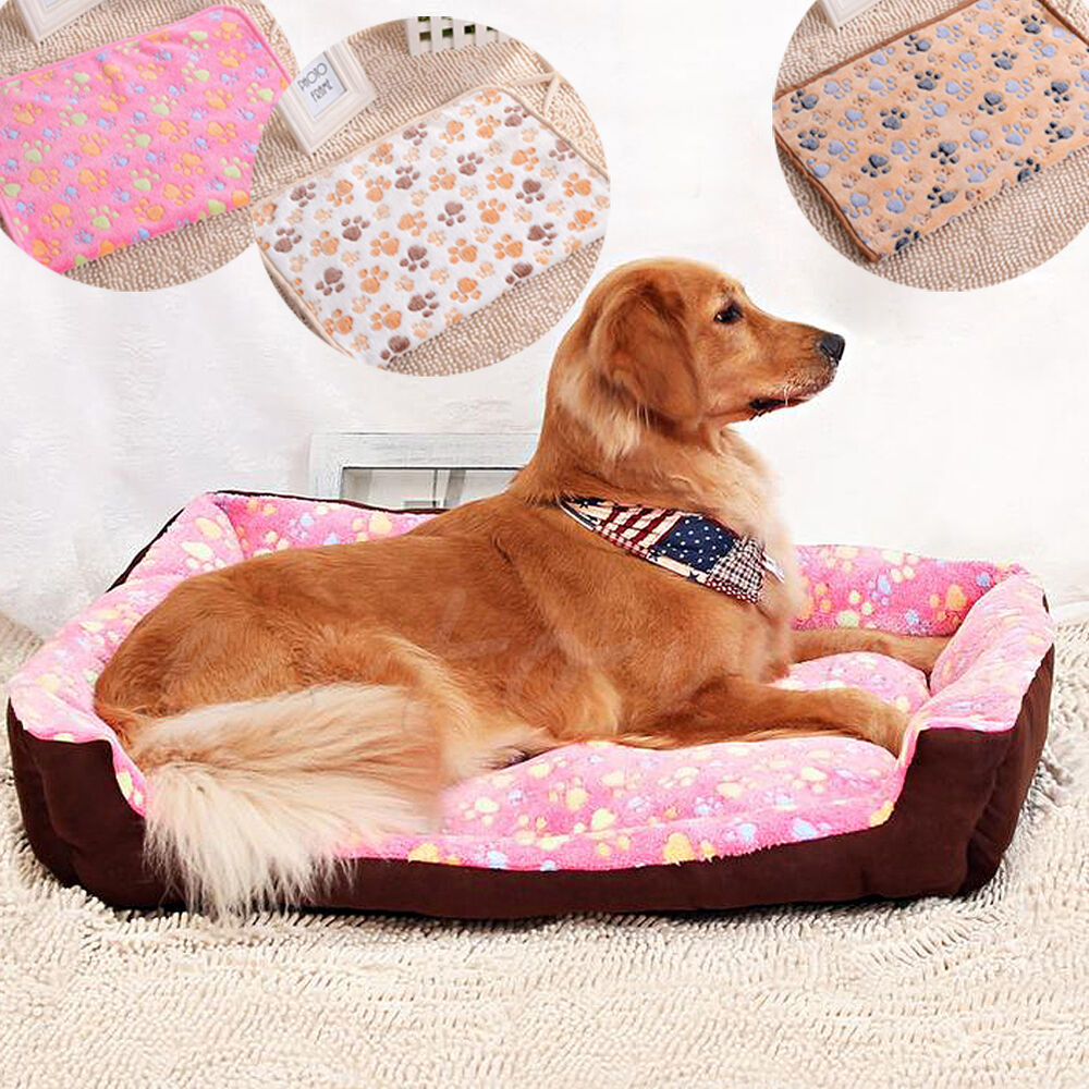 Soft Blanket Beds Mat Puppy Pet Small Large Warm Paw Print