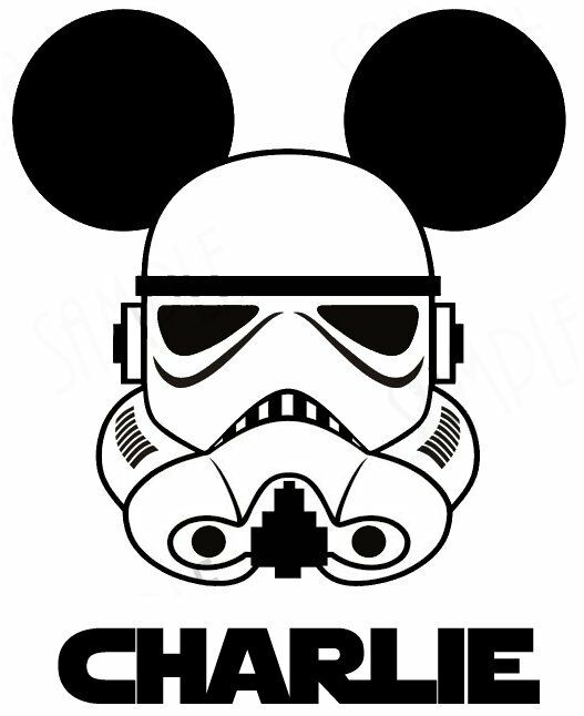 Star Wars Storm Trooper Disney Mickey Mouse Fabric T