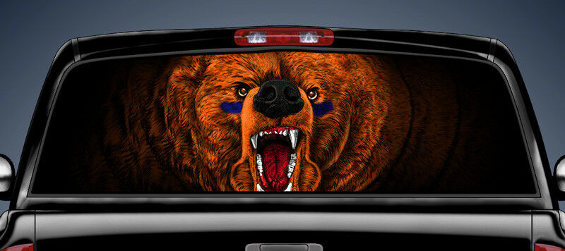 Chicago Bears Rear Window Graphic One Way Filmtruck Decal