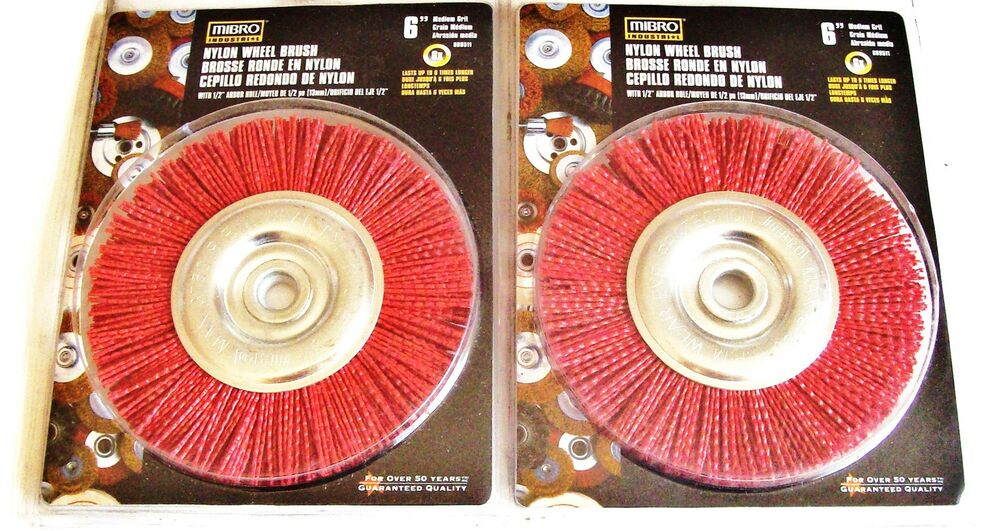 2 Mibro 6 Quot Nylon Wheel Brushes Med Grit Bench Grinder 5 8