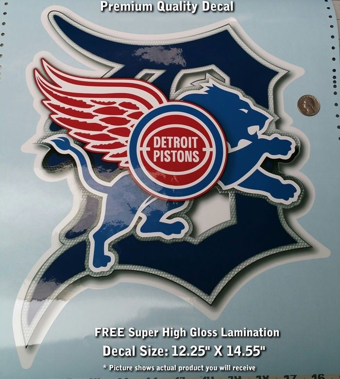 Detroit Tigers Red Wings Pistons Lions 4d Decal Premium