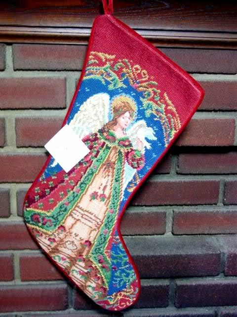 Sferra Needlepoint Christmas Stocking Angel W Dove New