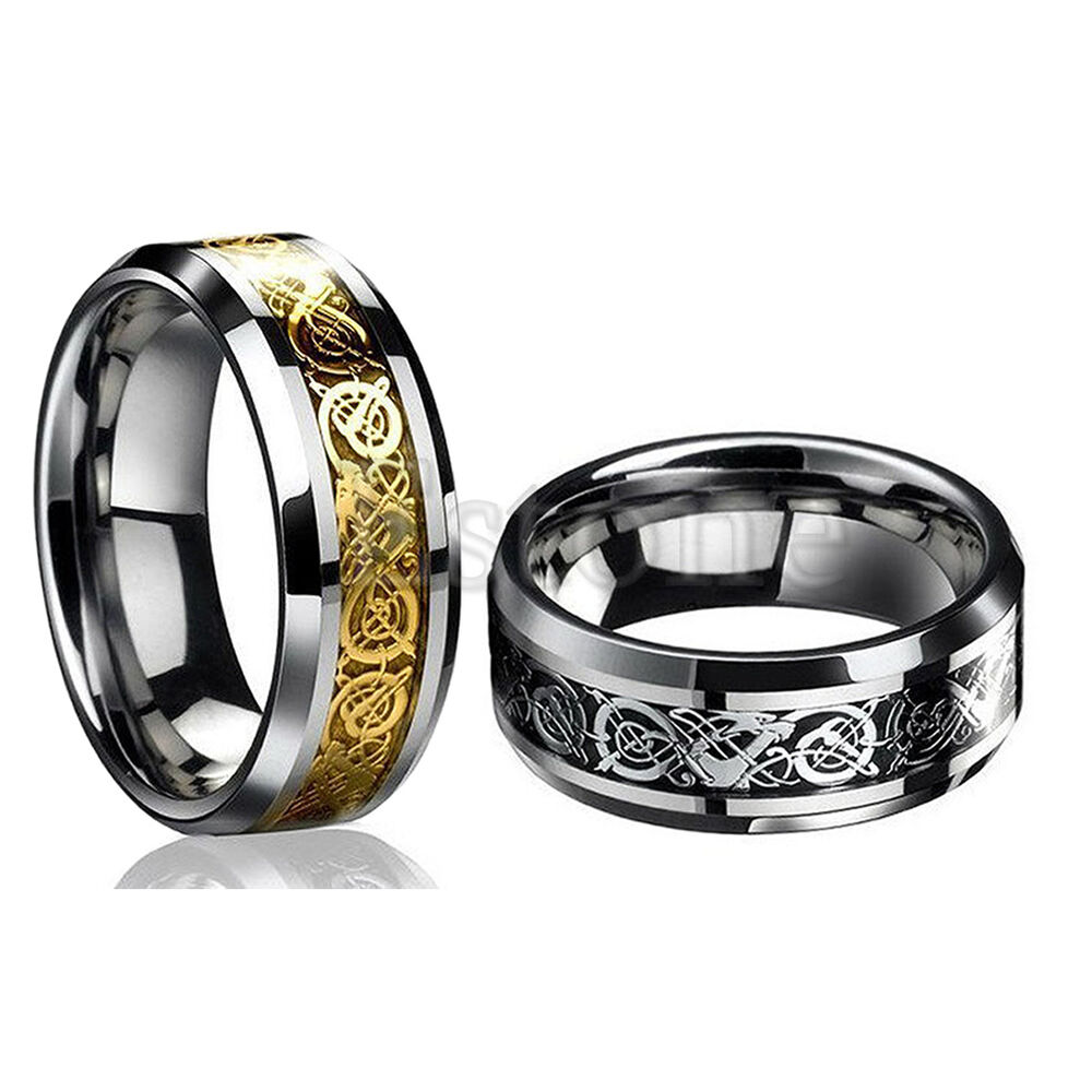 dragon titanium steel jewelry men ring wedding band size 12 ebay