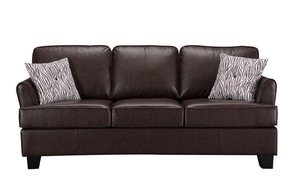 Kings Brand Furniture Brown Faux Leather Queen Size Sofa