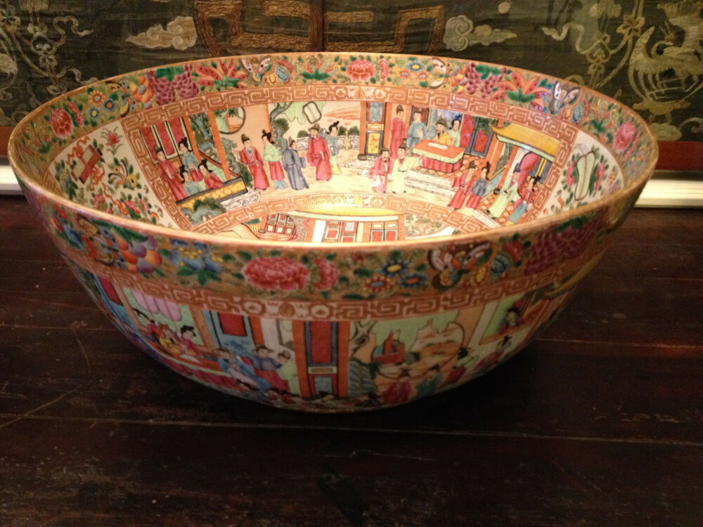 Monumental antique chinese famille rose mandarin punch for Asian antiques uk