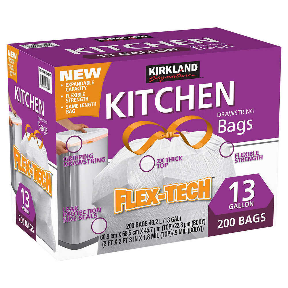 Kitchen Garbage Bags: 200 CT Kirkland Signature Drawstring Kitchen Trash Bags 13