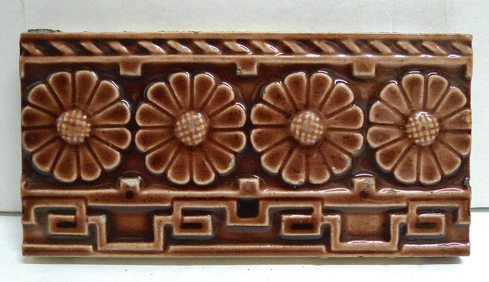 Antique Trent Victorian Border Tile Floral Ebay
