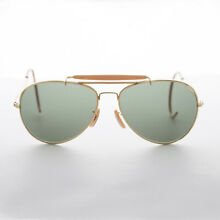 69622f0397 Vintage Aviator Sunglasses with Cable Temples and Glass Lens Gold 58mm -  Wolfman