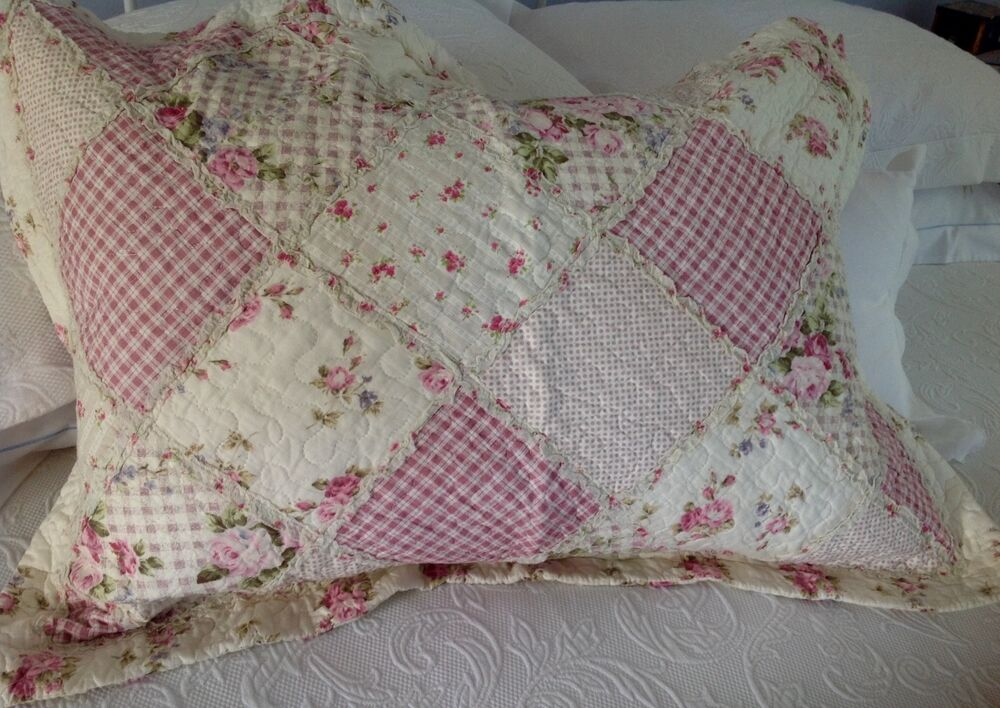Shabby Chic Pillow Shams : Shabby Chic Pillow Sham Case Cover Slip Pink Quilted Floral Standard Size eBay