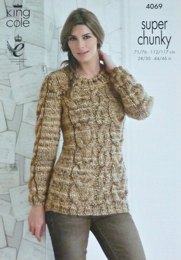 Super Chunky Jumper Knitting Pattern : KNITTING PATTERN Ladies Long Sleeve Round Neck Cable Jumper Super Chunky 4069...