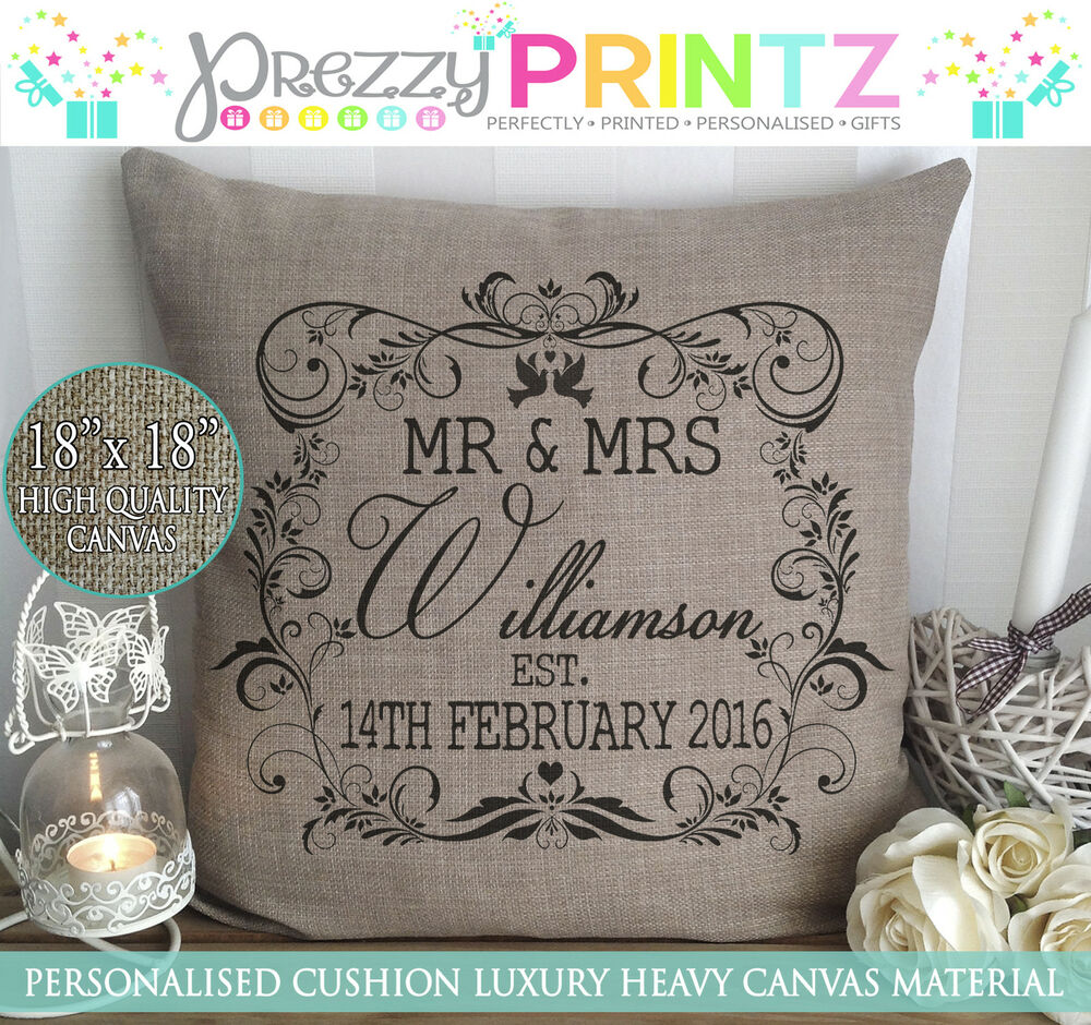 Wedding Gifts Mr And Mrs: PERSONALISED MR&MRS CUSHION CANVAS CHRISTMAS VALENTINES