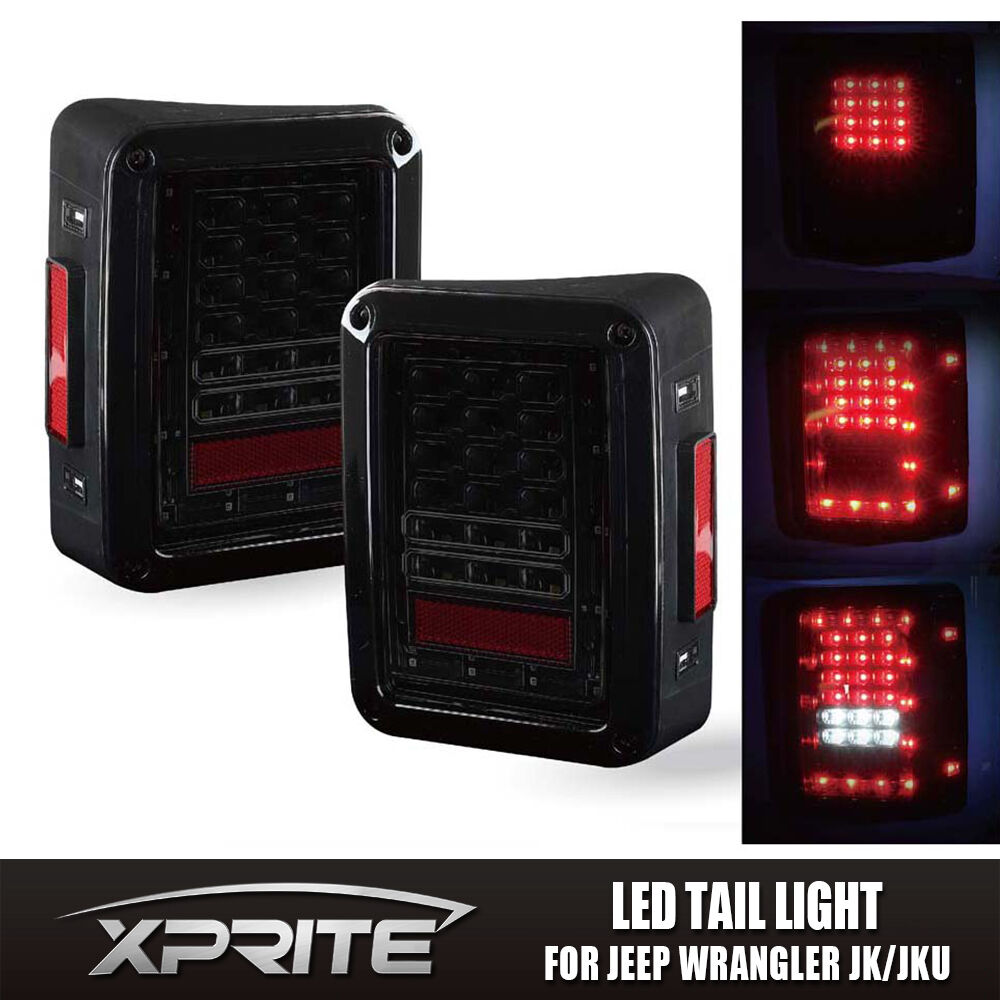 Jeep Tail Light Lenses : Xprite led tail light black with smoke lens for jeep