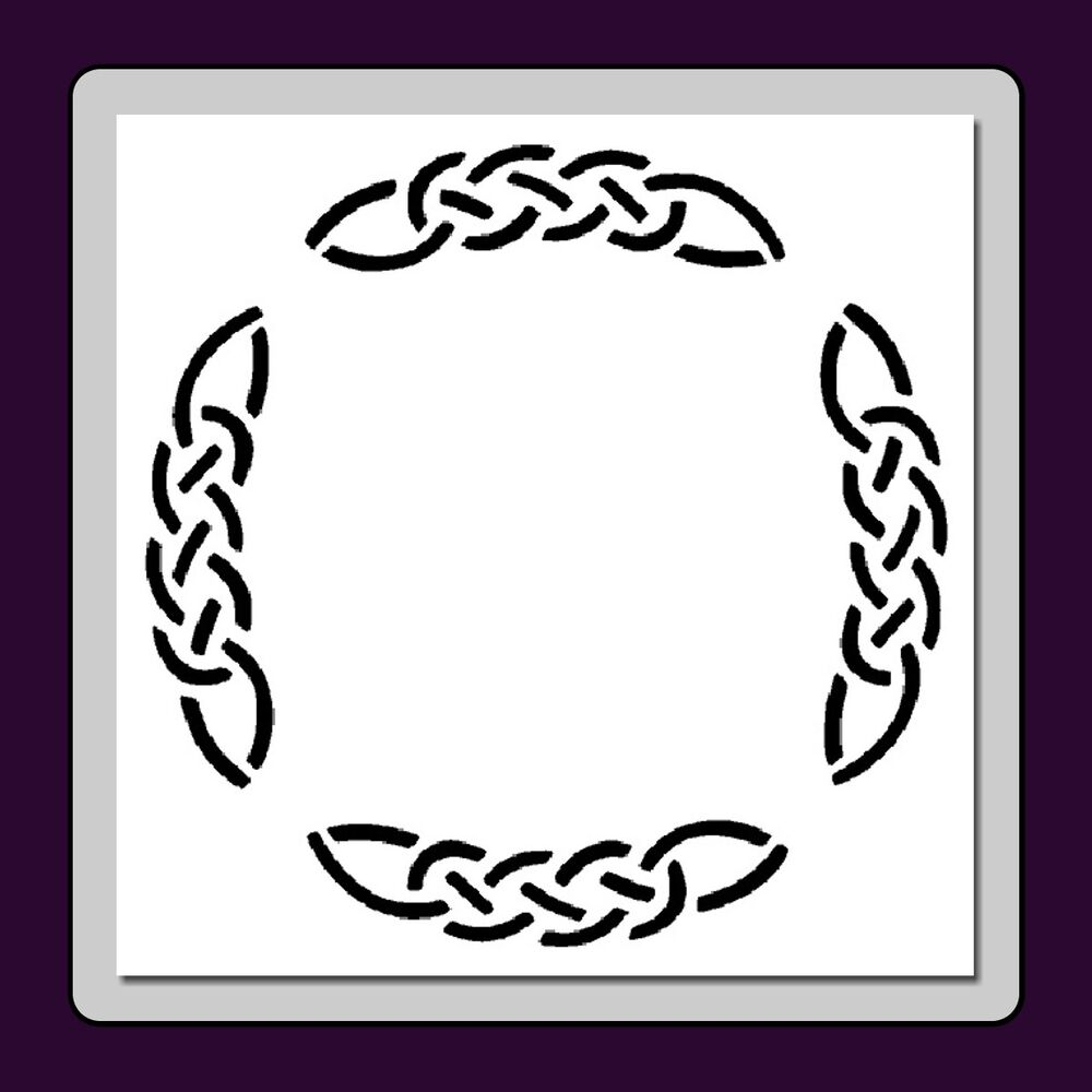 celtic knot round frame  border stencil medieval  irish  wiccan in 3 sizes