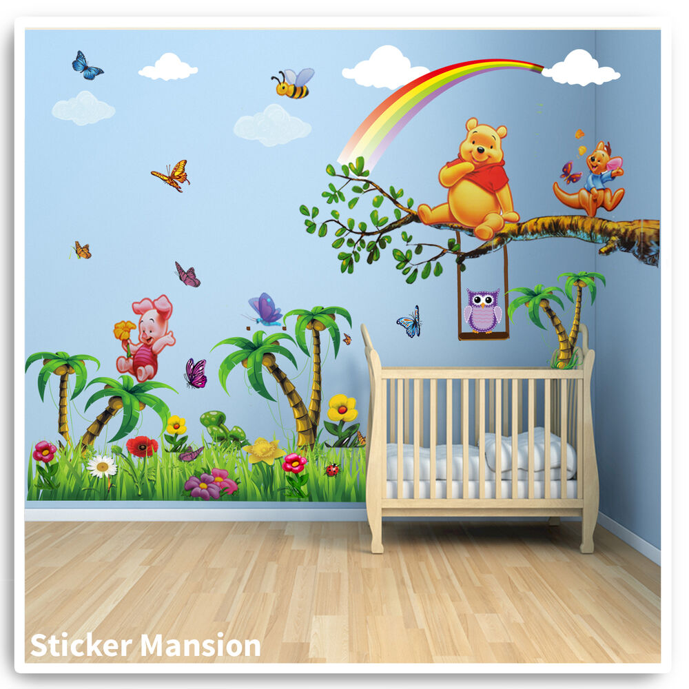 winnie the pooh wand sticker tiere eule baum kinderzimmer. Black Bedroom Furniture Sets. Home Design Ideas