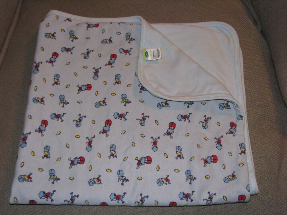 Old Navy Football Baby Boy Blue Cotton Receiving Swaddling