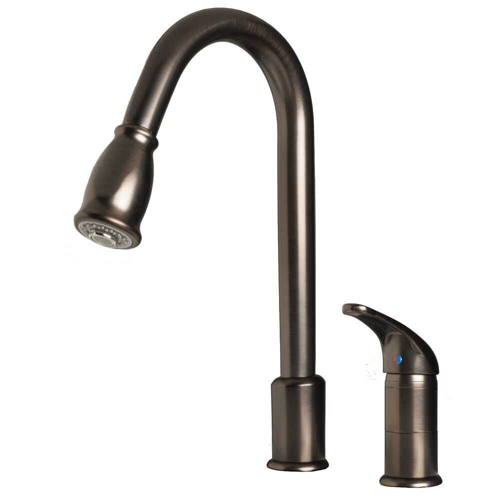 "16"" Pull-Down Spray Kitchen Sink Faucet Brushed Bronze"
