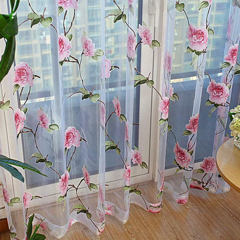 Color tulle door window curtain drape panel sheer scarf valance ebay