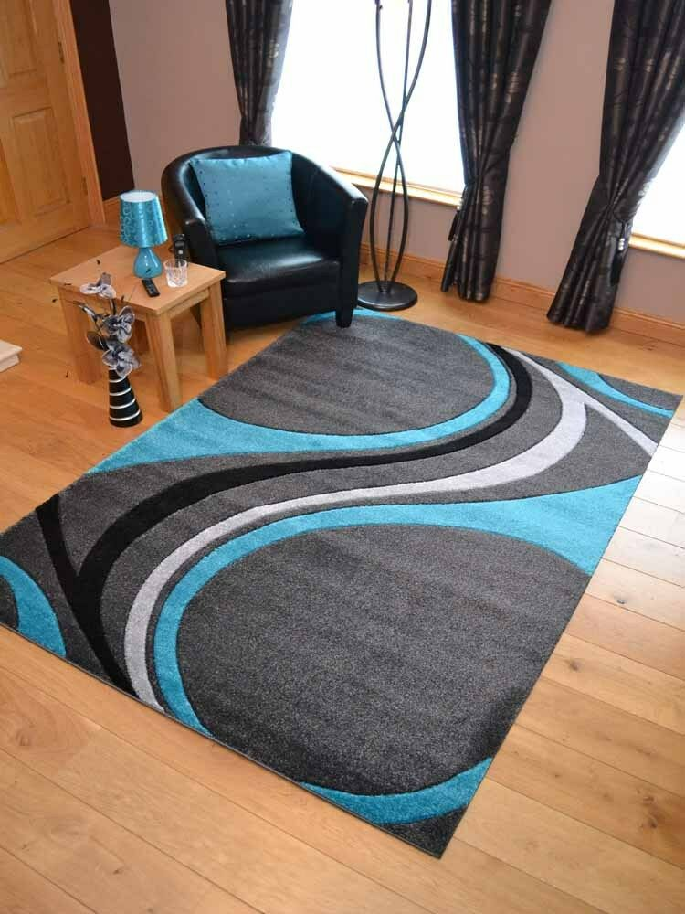 Silver Grey Teal Blue Swirl Modern Soft Thick Rugs Small
