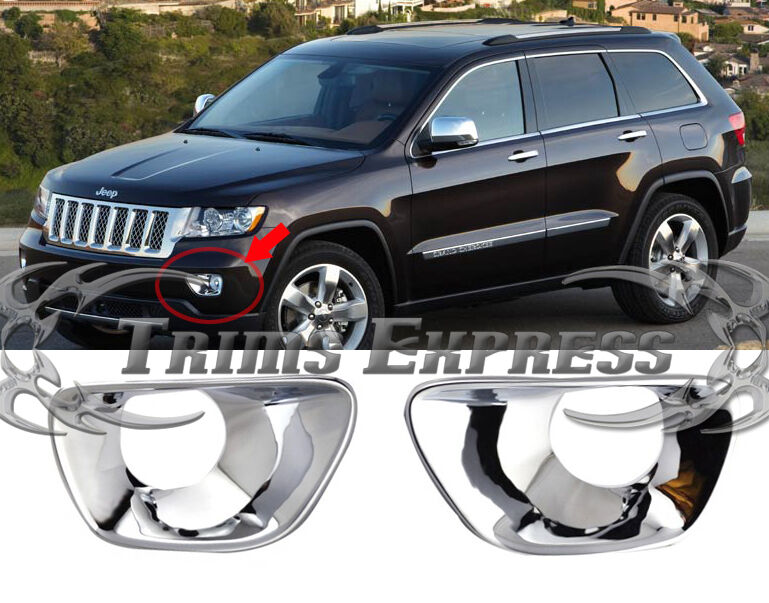 2011 2017 Jeep Grand Cherokee Chrome Foglights Guards Covers Bezel Cover Bumper Ebay