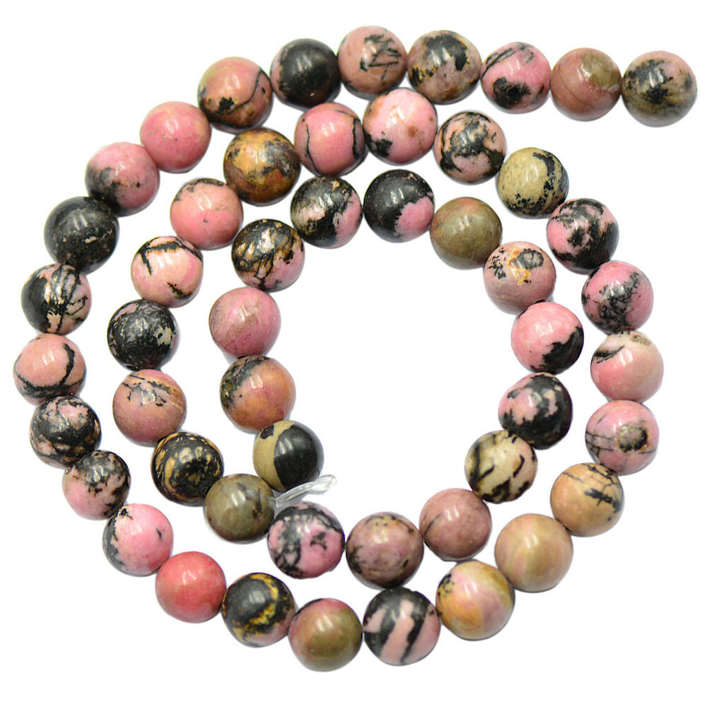Loose gemstone beads 8mm natural black pink rhodonite for Birthstone beads for jewelry making