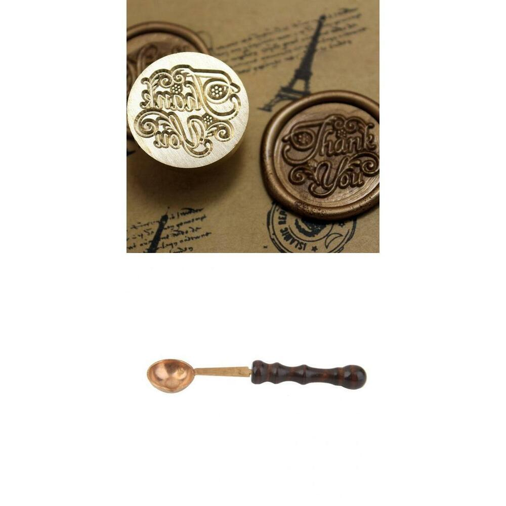 Thank you initial letter vintage sealing wax seal stamp for Melting wax for letters