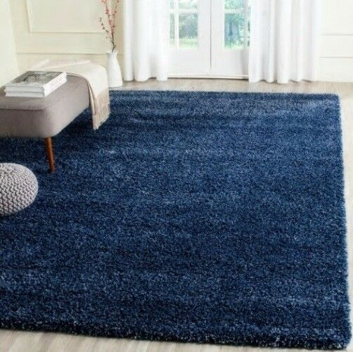 Denim Blue Shag Area Rug Rugs 4 X 6 8 10 9 12 10 13