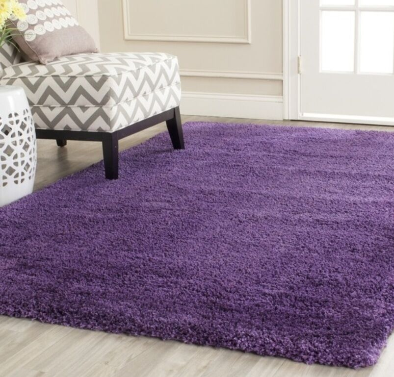 Violet Purple Solid Soft Shag Area Rug Rugs 8 X 10 4 6 5