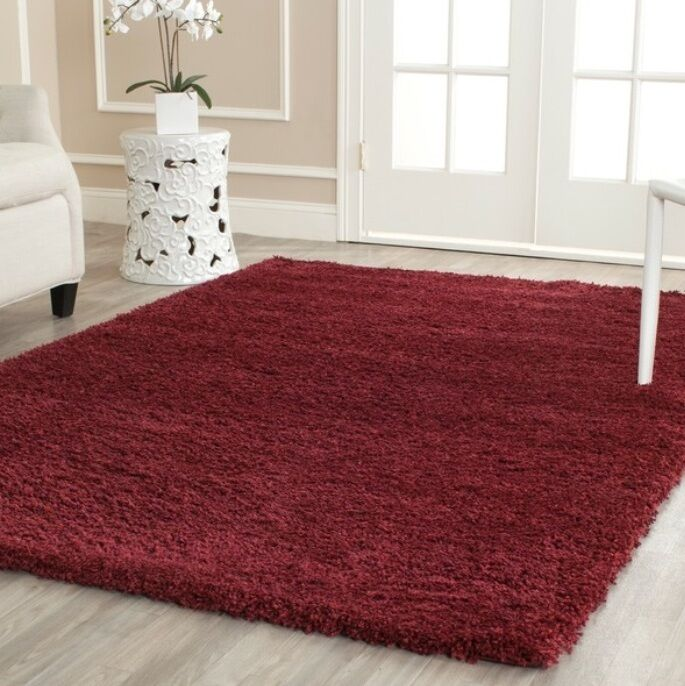 Maroon Burgundy Red Shag Area Rug Rugs 8 X 10 4 6 5 8 7