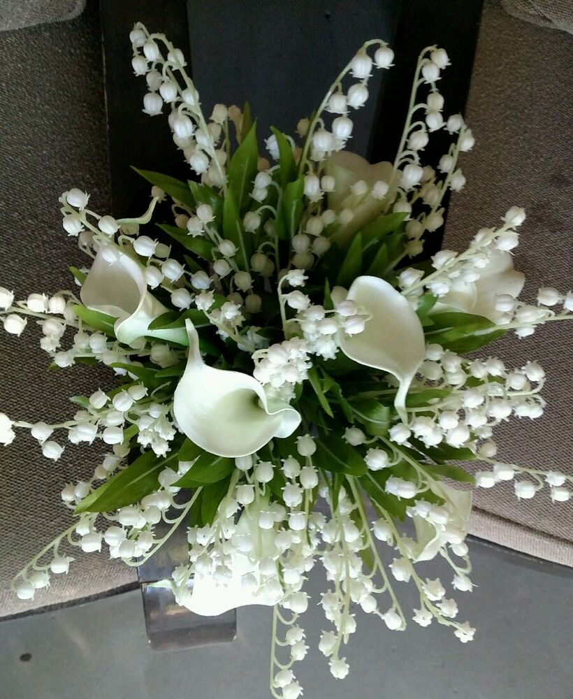 4pc white wedding bouquet bridal silk flowers calla lily lily of 4pc white wedding bouquet bridal silk flowers calla lily lily of the valley ebay izmirmasajfo