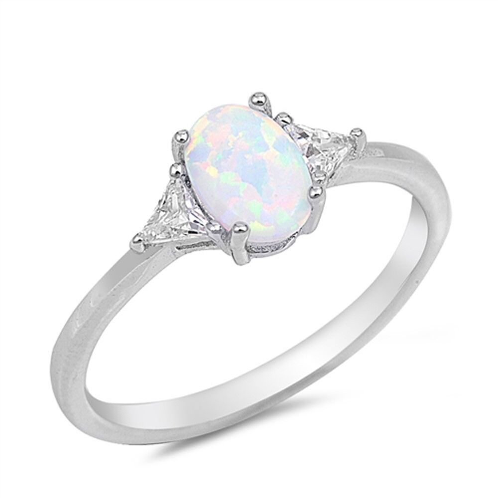 White Opal Amp Cz 925 Sterling Silver Ring Sizes 4 12 Ebay