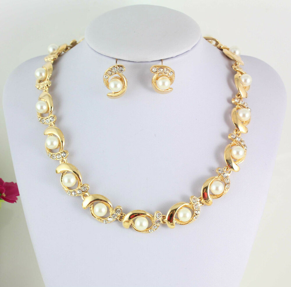 Fashion Women's Crystal Pearl Gold/Silver Choker Necklace ...