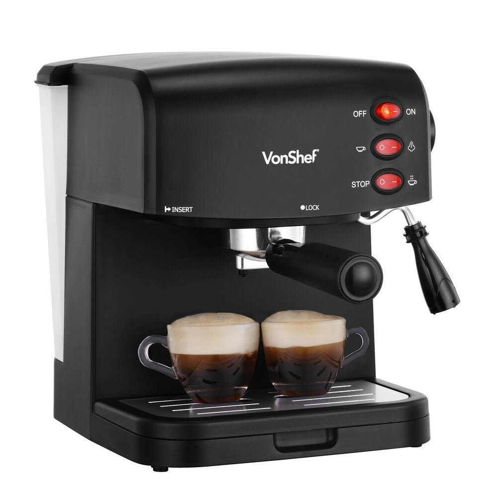 One Cup Latte Coffee Maker : VonShef 15 Bar Espresso Machine Cappuccino Latte Coffee Maker 850W Black eBay