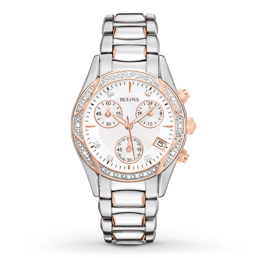 Bulova women 39 s 98r149 anabar chronograph rose gold stainless steel dress watch ebay for Watches bulova