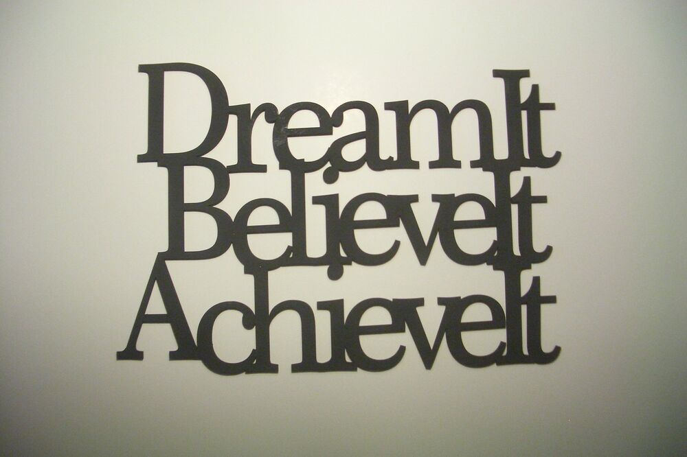 Dream Wood Wall Decor : Black wood wall words quot dream it believe achieve