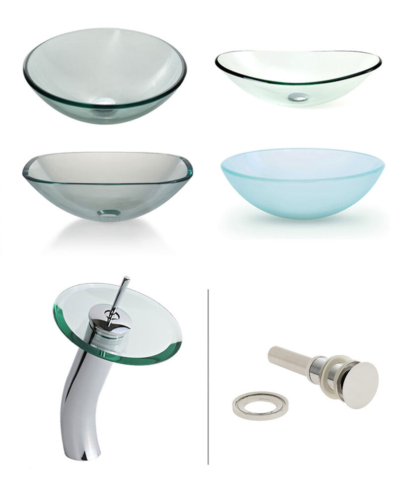 Glass Vessel Sink With Waterfall Faucet Combination For