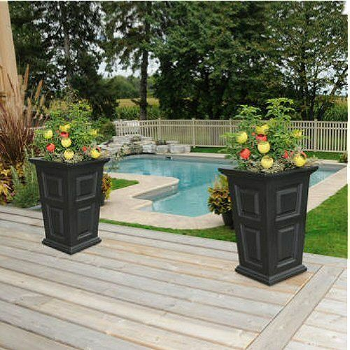 """White Outdoor Patio 36 Deluxe Large Garden Planter Flower: 24"""" Tall Black Planter 2-pack, BLACK , Self-watering Tray"""