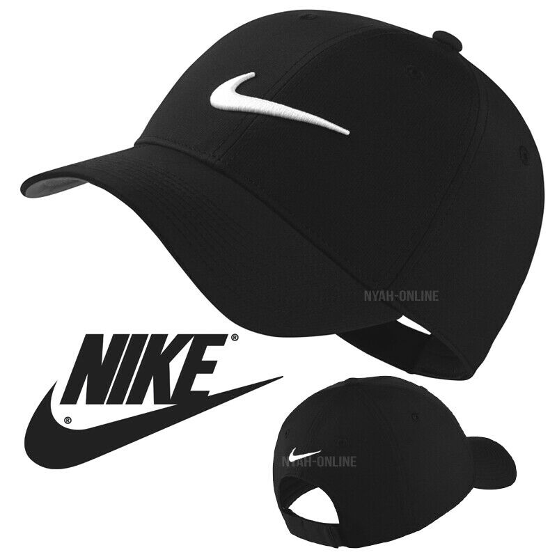 bfae35e0ed6 Details about NEW Nike SWOOSH BASEBALL CAP  BLACK  PLAIN STORM FIT GOLF  LIGHT FITTED PEAK HAT