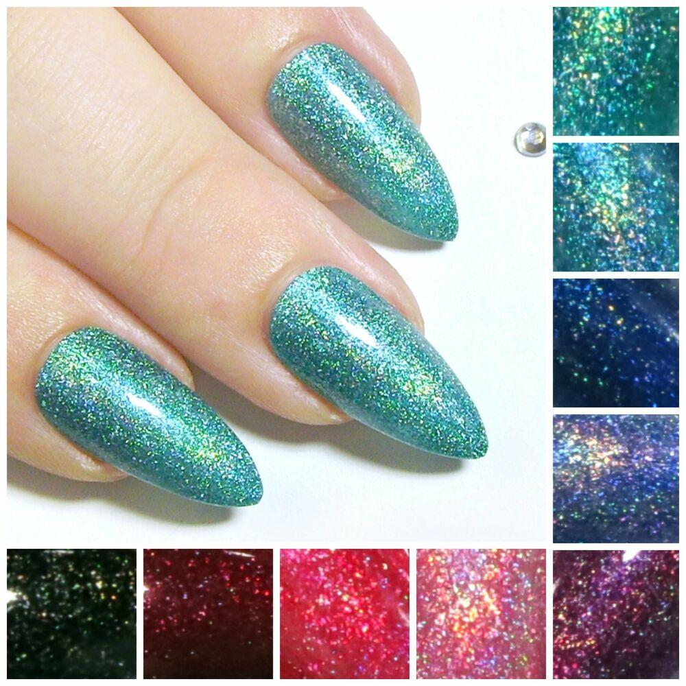 Fake Nails: Jelly Holographic Stiletto Fake Nails