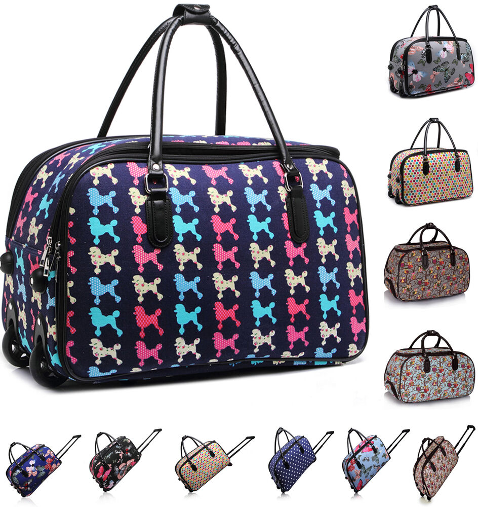 ladies women 39 s travel holdall trolley luggage bag with wheels holiady bags ebay. Black Bedroom Furniture Sets. Home Design Ideas