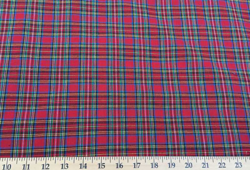 Homespun Royal Stewart Tartan Red Green Fabric 100 Cotton