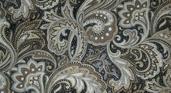 perugina paisley fabric black tan khaki floral by the yard quilting cotton t1  36