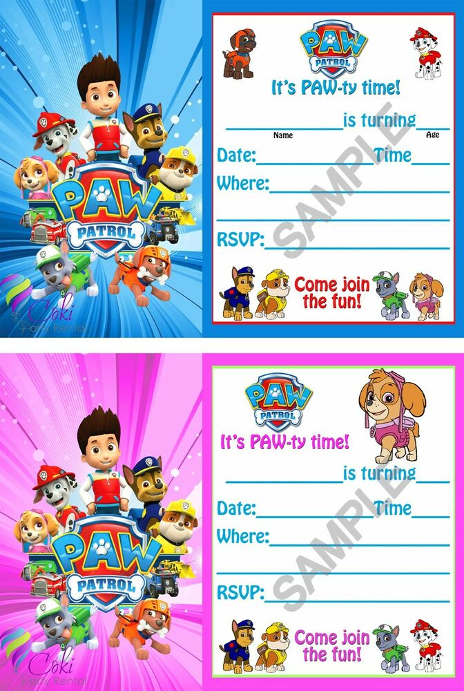 Paw Patrol Birthday Party Invitations (12) Boy & Girl with ...
