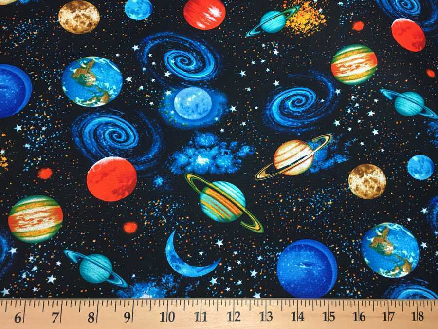 Space fabric solar system universe planets night sky by for Space fabric by the yard