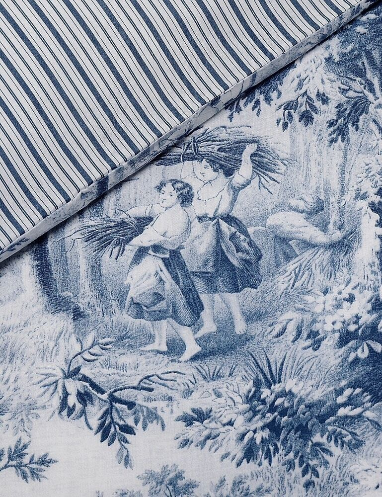 French Country Toile Doona Duvet Queen Quilt Cover 2