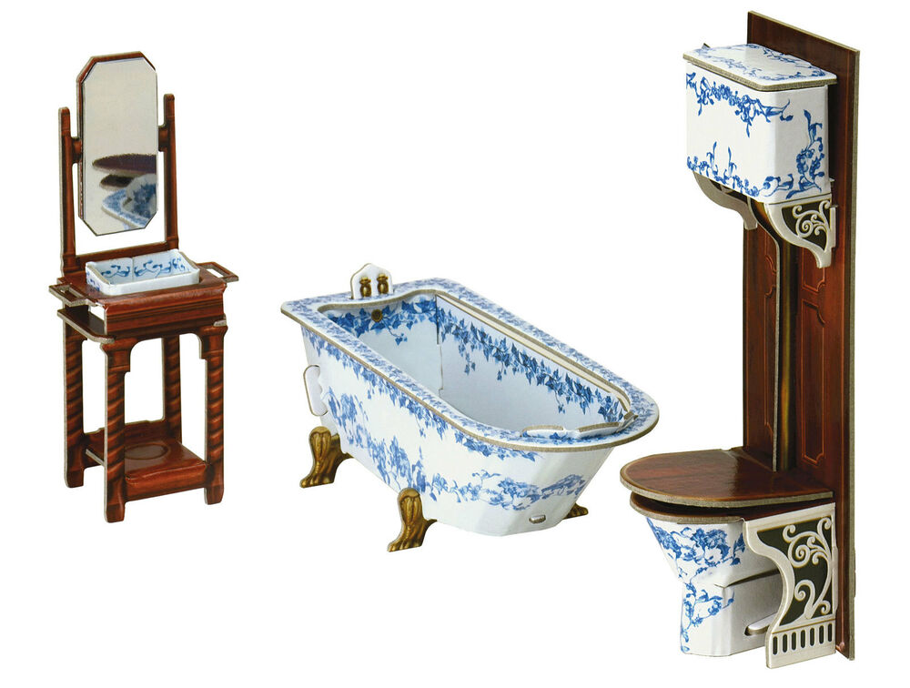 Furniture For Dolls Bathroom Dollhouse Miniature Scale 1