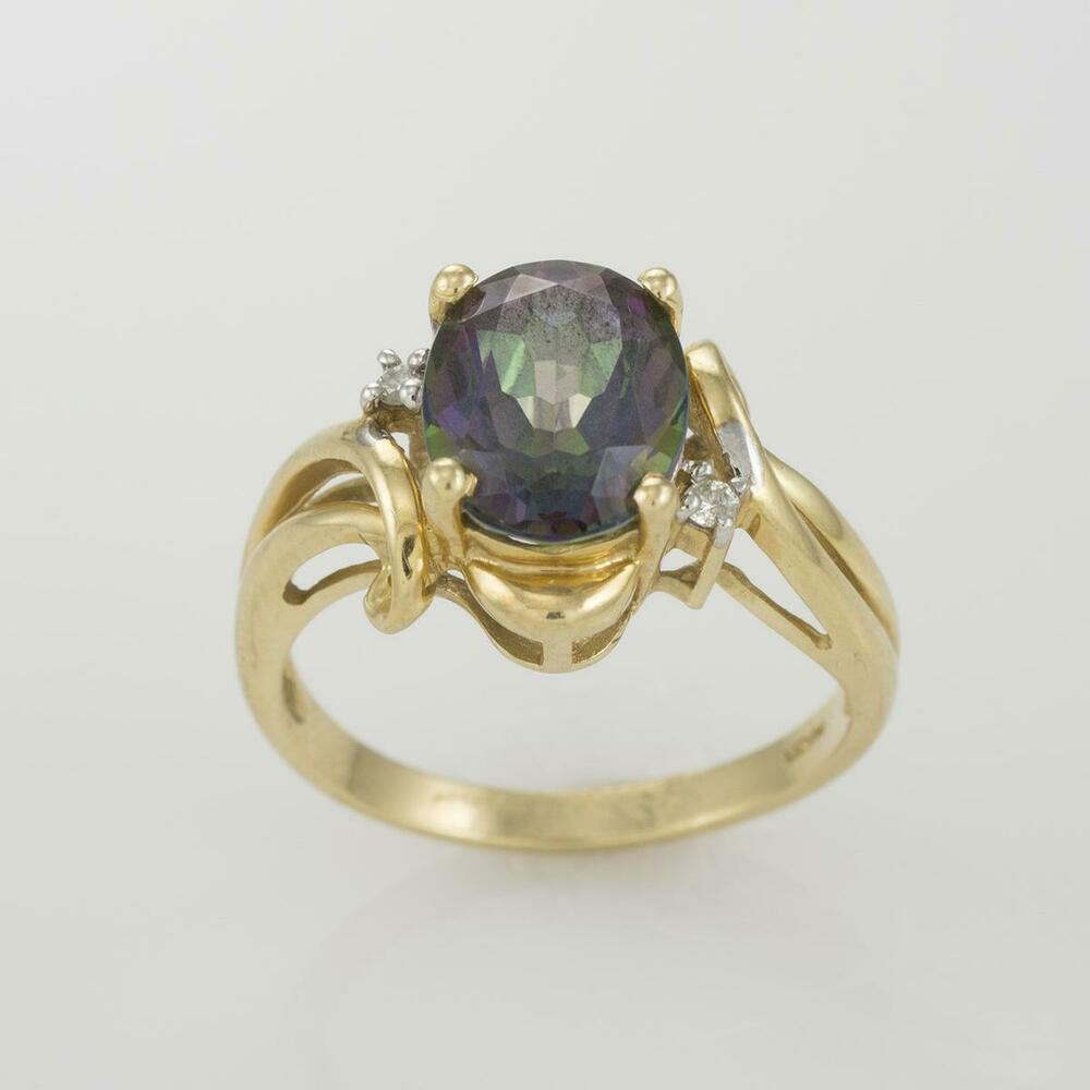 14k Yellow Gold Mystic Topaz Ring with Diamond Accents ...