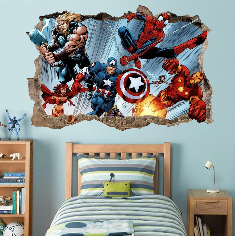 Marvel super heroes smashed wall 3d decal removable wall for 3d wall decals