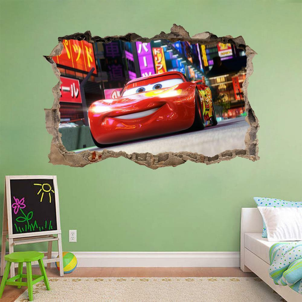Lightining Mcqueen Disney Cars Smashed Wall 3d Decal Removable Wall
