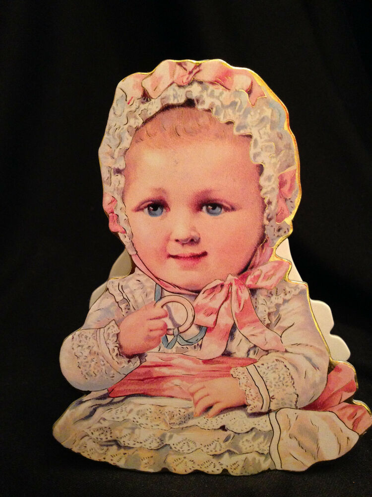 Victorian Vintage Baby Cut Out Box Ornament Miniature Baby